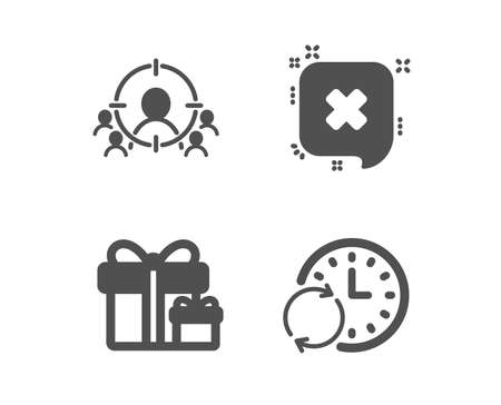 Set of Surprise package, Reject and Business targeting icons. Update time sign. Present boxes, Delete message, People and target aim. Refresh clock.  Classic design surprise package icon. Flat design