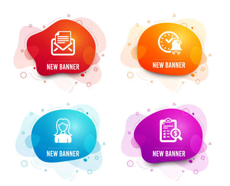 Liquid badges. Set of Alarm bell, Mail correspondence and Woman icons. Accounting report sign. Time, E-mail newsletter, Girl profile. Check finance.  Gradient alarm bell icon. Flyer fluid design Banque d'images - 120950779