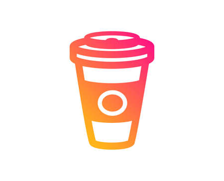 Takeaway Coffee or Tea icon. Hot drink sign. Beverage symbol. Classic flat style. Gradient takeaway Coffee icon. Vector