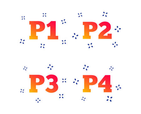 Car parking icons. First, second, third and four floor signs. P1, P2, P3 and P4 symbols. Random dynamic shapes. Gradient parking icon. Vector
