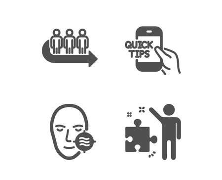 Set of Queue, Problem skin and Education icons. Strategy sign. People waiting, Facial care, Quick tips. Business plan.  Classic design queue icon. Flat design. Vector Ilustrace