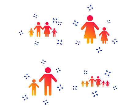 Large family with children icon. Parents and kids symbols. One-parent family signs. Mother and father divorce. Random dynamic shapes. Gradient family icon. Vector