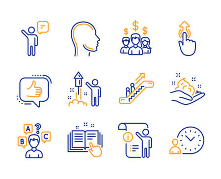 Quiz test, Escalator and Swipe up icons simple set. Like, Skin care and Head signs. Salary employees, Agent and Fireworks symbols. Manual doc, Technical documentation and Time management. Vector Ilustração