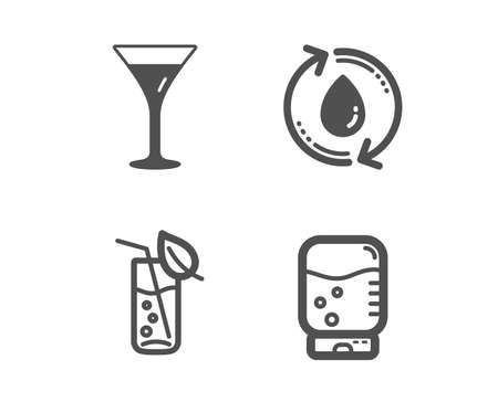 Set of Martini glass, Refill water and Water glass icons. Wine, Recycle aqua, Soda drink. Office drink.  Classic design martini glass icon. Flat design. Vector