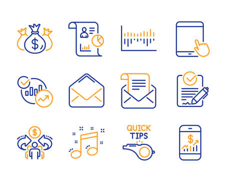 Rfp, Report and Statistics icons simple set. Mail newsletter, Tablet pc and Mail signs. Column diagram, Sharing economy and Musical note symbols. Line rfp icon. Colorful set. Editable stroke. Vector Stock Vector - 120950868