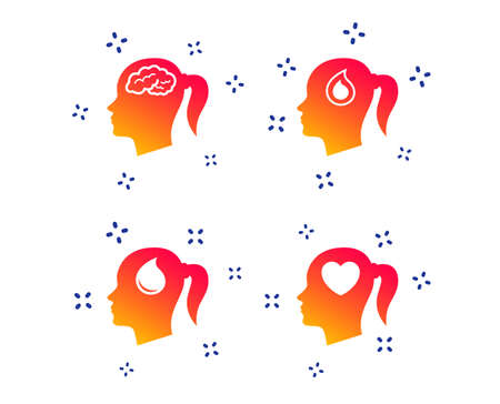 Head with brain icon. Female woman think symbols. Blood drop donation signs. Love heart. Random dynamic shapes. Gradient head icon. Vector