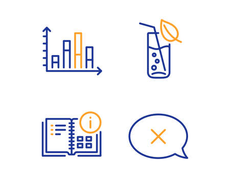 Instruction info, Diagram graph and Water glass icons simple set. Reject sign. Project, Presentation chart, Soda drink. Delete message. Linear instruction info icon. Colorful design set. Vector