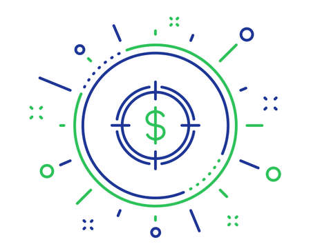 Target with Dollar line icon. Aim symbol. Cash or Money sign. Quality design elements. Technology dollar Target button. Editable stroke. Vector