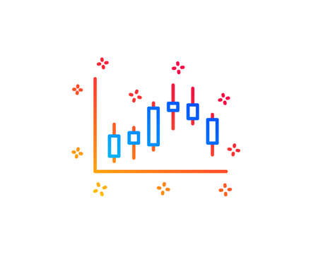 Candlestick chart line icon. Financial graph sign. Stock exchange symbol. Business investment. Gradient design elements. Linear candlestick graph icon. Random shapes. Vector Zdjęcie Seryjne - 123562822