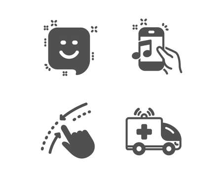 Set of Music phone, Smile and Swipe up icons. Ambulance car sign. Radio sound, Positive feedback, Touch down. Emergency transport.  Classic design music phone icon. Flat design. Vector