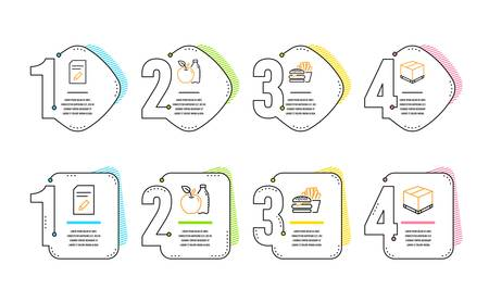 Edit document, Burger and Apple icons simple set. Delivery box sign. Page with pencil, Cheeseburger, Diet food. Cargo package. Business set. Infographic timeline. Line edit document icon. Vector