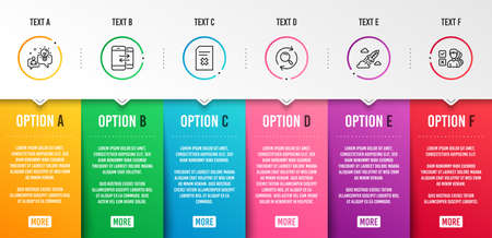 Idea, Delete file and Search icons simple set. Phone communication, Startup rocket and Opinion signs. Solution, Remove document. Infographic template. 6 steps timeline. Business options. Vector