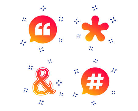 Quote, asterisk footnote icons. Hashtag social media and ampersand symbols. Programming logical operator AND sign. Speech bubble. Random dynamic shapes. Gradient hashtag icon. Vector Illustration