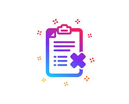 Reject checklist icon. Decline document sign. Delete file. Dynamic shapes. Gradient design reject checklist icon. Classic style. Vector Illustration