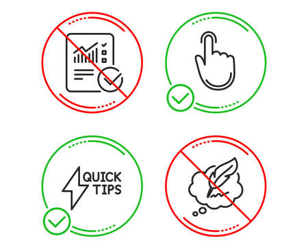 Do or Stop. Hand click, Quickstart guide and Checked calculation icons simple set. Copyright chat sign. Location pointer, Lightning symbol, Statistical data. Speech bubble. Education set. Vector