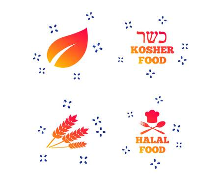 Natural food icons. Halal and Kosher signs. Gluten free. Chief hat with fork and spoon symbol. Random dynamic shapes. Gradient organic icon. Vector
