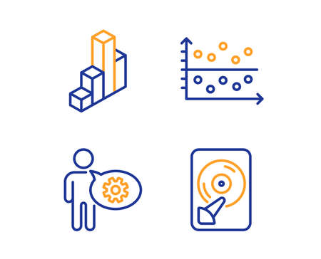 Cogwheel, 3d chart and Dot plot icons simple set. Hdd sign. Engineering tool, Presentation column, Presentation graph. Memory disk. Science set. Linear cogwheel icon. Colorful design set. Vector