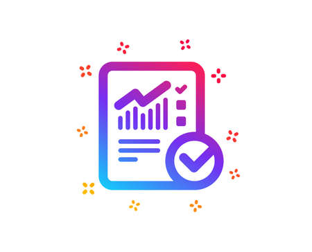 Checklist document icon. Analysis Chart or Sales growth report sign. Statistics data symbol. Dynamic shapes. Gradient design checked calculation icon. Classic style. Vector Reklamní fotografie - 123562845