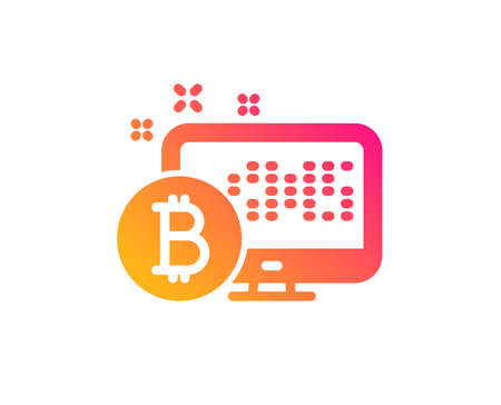 Bitcoin icon. Cryptocurrency monitor sign. Crypto money symbol. Classic flat style. Gradient bitcoin system icon. Vector