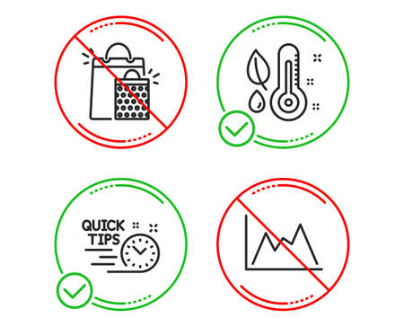 Do or Stop. Shopping bags, Thermometer and Quick tips icons simple set. Diagram sign. Sale marketing, Grow plant, Helpful tricks. Growth graph. Business set. Line shopping bags do icon. Vector