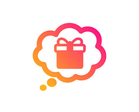Dreaming of Gift icon. Present box in Comic speech bubble sign. Birthday Shopping symbol. Package in Gift Wrap. Classic flat style. Gradient gift dream icon. Vector Иллюстрация