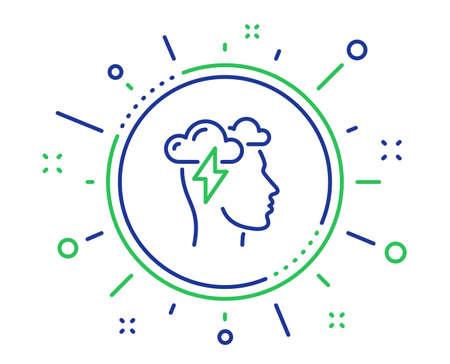 Mindfulness line icon. Psychology sign. Cloud storm symbol. Quality design elements. Technology mindfulness stress button. Editable stroke. Vector Çizim