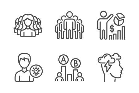 Group, Seo statistics and Women group icons simple set. Ab testing, Person idea and Mindfulness stress signs. Managers, Analytics chart. People set. Line group icon. Editable stroke. Vector