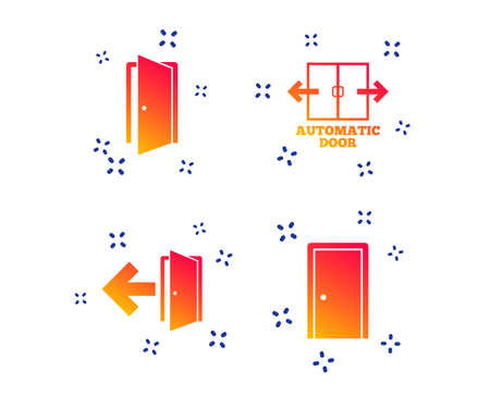 Automatic door icon. Emergency exit with arrow symbols. Fire exit signs. Random dynamic shapes. Gradient door icon. Vector