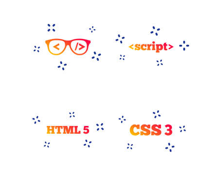 Programmer coder glasses icon. HTML5 markup language and CSS3 cascading style sheets sign symbols. Random dynamic shapes. Gradient code icon. Vector