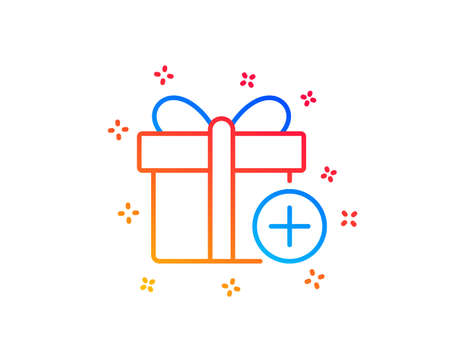 Add Gift box line icon. Present or Sale sign. Birthday Shopping symbol. Package in Gift Wrap. Gradient design elements. Linear add gift icon. Random shapes. Vector