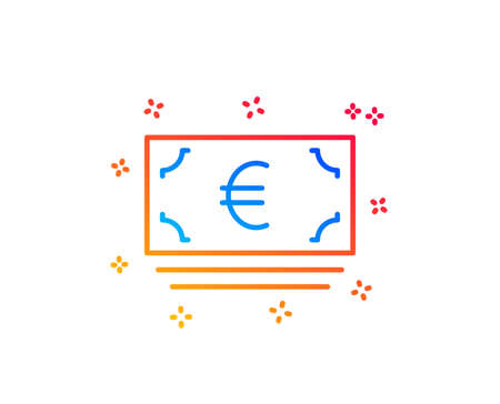 Cash money line icon. Banking currency sign. Euro or EUR symbol. Gradient design elements. Linear euro currency icon. Random shapes. Vector