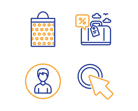 Travel loan, Shopping bag and Person icons simple set. Click here sign. Trip discount, Paper package, Edit profile. Push button. Business set. Linear travel loan icon. Colorful design set. Vector Illustration
