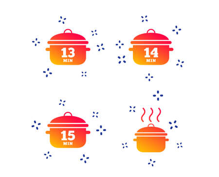 Cooking pan icons. Boil 13, 14 and 15 minutes signs. Stew food symbol. Random dynamic shapes. Gradient cooking pan icon. Vector Illustration