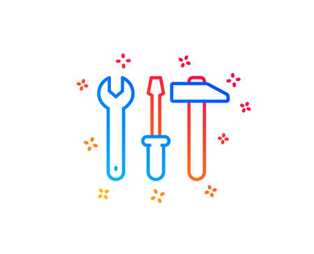 Spanner, hammer and screwdriver line icon. Repair service sign. Fix instruments symbol. Gradient design elements. Linear spanner tool icon. Random shapes. Vector