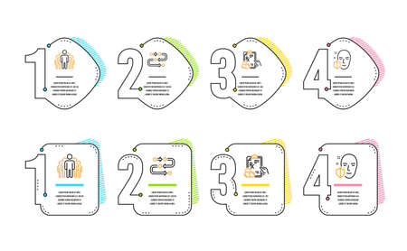 Group, Prescription drugs and Methodology icons simple set. Face protection sign. Managers, Pills, Development process. Secure access. Science set. Infographic timeline. Line group icon. Vector