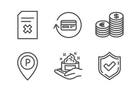 Delete file, Parking and Skin care icons simple set. Currency, Refund commission and Confirmed signs. Remove document, Park pointer. Business set. Line delete file icon. Editable stroke. Vector