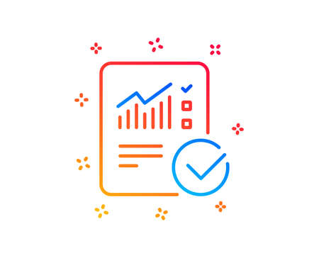 Checklist document line icon. Analysis Chart or Sales growth report sign. Statistics data symbol. Gradient design elements. Linear checked calculation icon. Random shapes. Vector