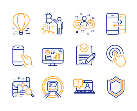 Bitcoin project, Hold smartphone and Analytics graph icons simple set. Click, Air balloon and Recruitment signs. Metro subway, Search map and Rfp symbols. Line bitcoin project icon. Colorful set