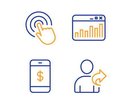 Click, Smartphone payment and Marketing statistics icons simple set. Refer friend sign. Cursor pointer, Mobile pay, Web analytics. Share. Business set. Linear click icon. Colorful design set. Vector