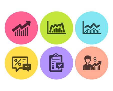 Infochart comercial, lista de verificación y iconos de curva de demanda conjunto simple. Descuentos, gráfico infográfico y signos de crecimiento empresarial. Análisis empresarial, Encuesta. Conjunto de finanzas. Icono de infochart de comercio plano. Botón circular Ilustración de vector