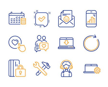 Spanner tool, Calendar and Dating chat icons simple set. Like button, Blocked card and Smile signs. Synchronize, Graph phone and Internet downloading symbols. Line spanner tool icon. Colorful set Vektorové ilustrace