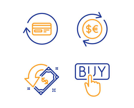 Money currency, Cashback and Refund commission icons simple set. Buying sign. Cash change, Receive money, Cashback card. E-commerce shopping. Finance set. Linear money currency icon. Vector