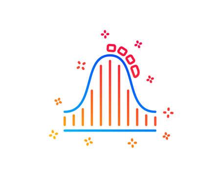 Roller coaster line icon. Amusement park sign. Carousels symbol. Gradient design elements. Linear roller coaster icon. Random shapes. Vector