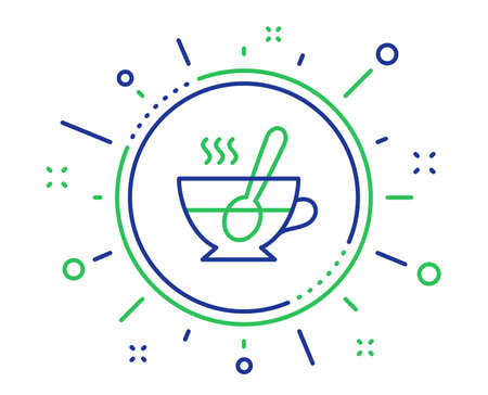 Cup with spoon line icon. Fresh beverage sign. Latte or Coffee symbol. Quality design elements. Technology tea cup button. Editable stroke. Vector