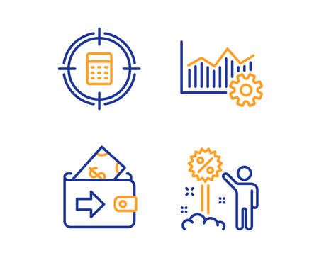 Operational excellence, Wallet and Calculator target icons simple set. Discount sign. Corporate business, Money payment, Audit. Sale shopping. Finance set. Linear operational excellence icon. Vector Ilustração