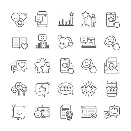 Feedback line icons. User Opinion, Customer service and Star Rating icons. Testimonial, Positive negative emotion, Client satisfaction. Social media feedback, star rating technology. Vector Stockfoto - 123151989
