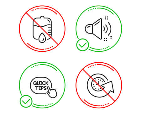 Do or Stop. Quick tips, Drop counter and Loud sound icons simple set. Update time sign. Helpful tricks, Medical equipment, Music. Refresh watch. Business set. Line quick tips do icon. Vector