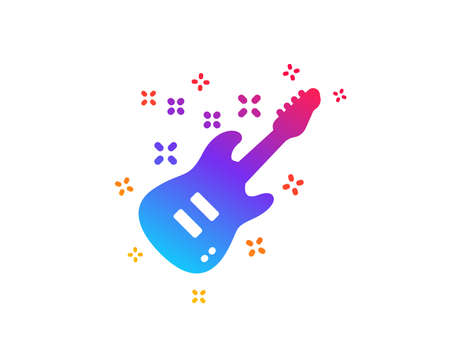 Electric guitar icon. Music sign. Musical instrument symbol. Dynamic shapes. Gradient design electric Guitar icon. Classic style. Vector