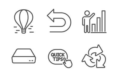 Graph chart, Undo and Air balloon icons simple set. Mini pc, Quick tips and Recycle signs. Growth report, Left turn. Technology set. Line graph chart icon. Editable stroke. Vector