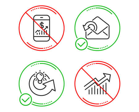 Do or Stop. Mobile finance, Send mail and Share idea icons simple set. Demand curve sign. Phone accounting, Sent message, Solution. Statistical report. Business set. Line mobile finance do icon